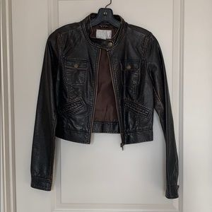 Xhileration Brown Rustic Leather Jacket